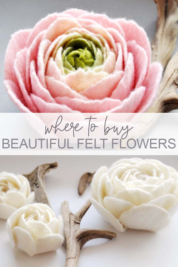 Where to buy beautiful felt flowers online pin