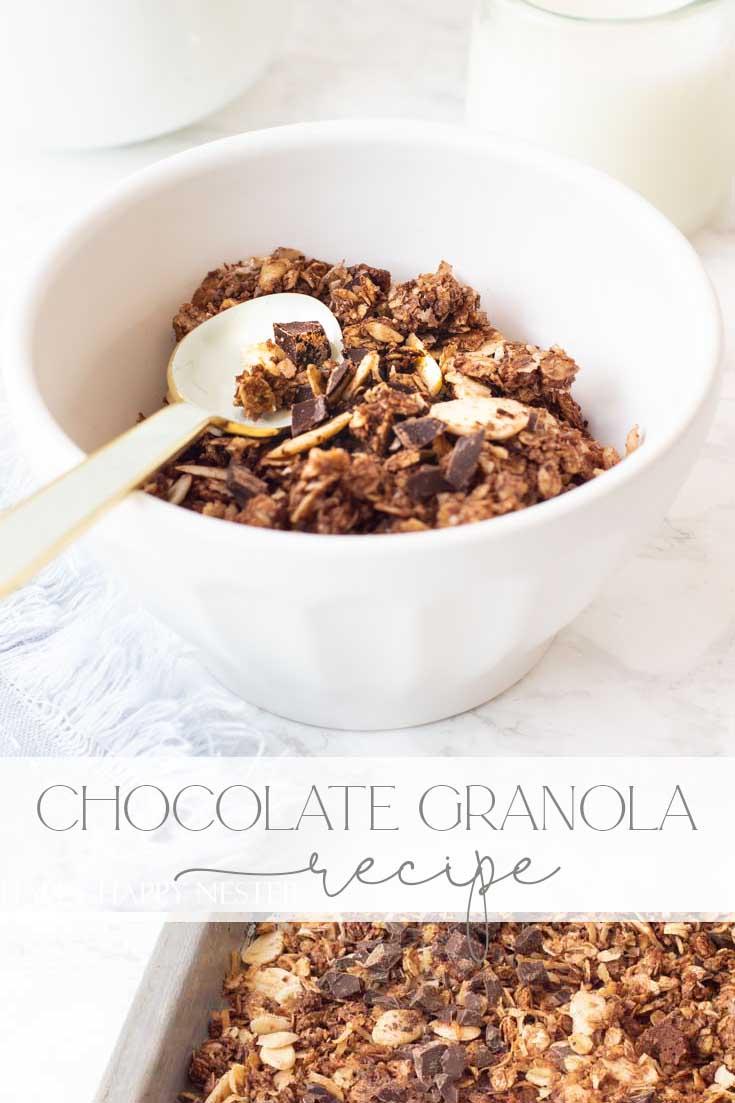 easy homemade granola recipe with dark chocolate pin