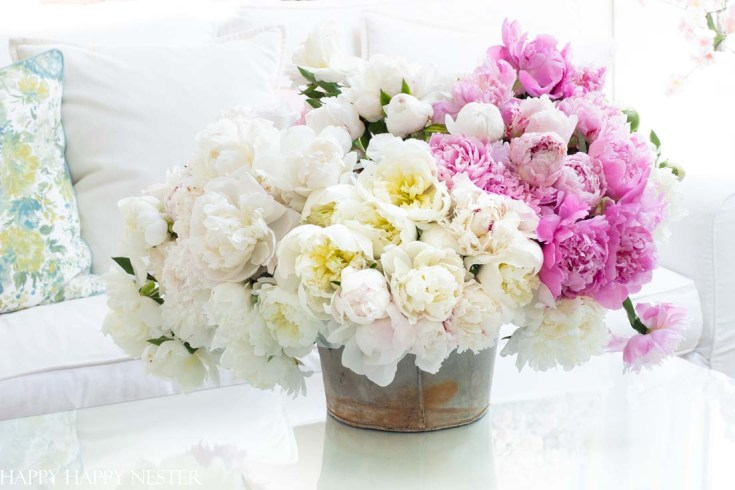 simple floral arrangement with peonies