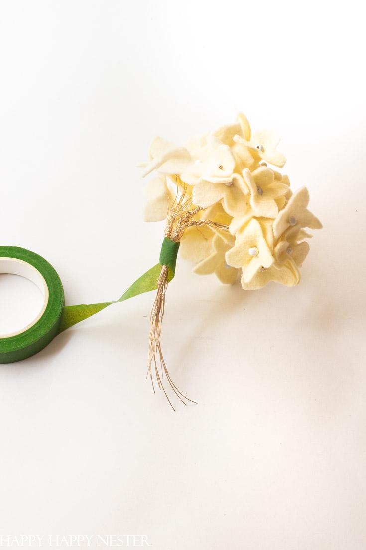 felt hydrangea flower