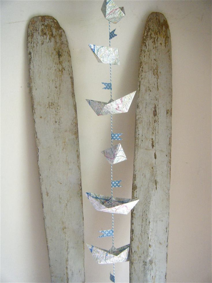 cute map paper garland