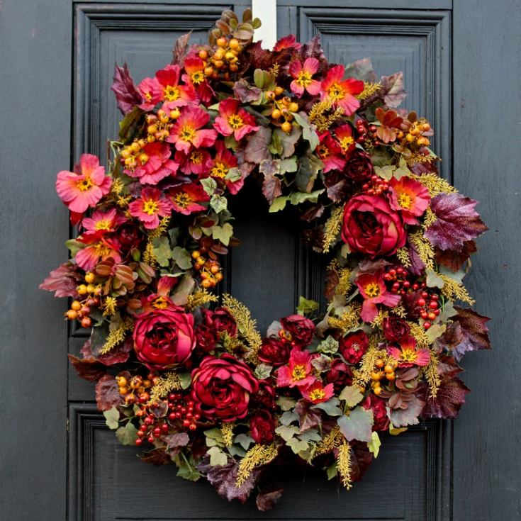 Fall faux flower wreath