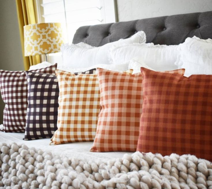 gingham fall pillows