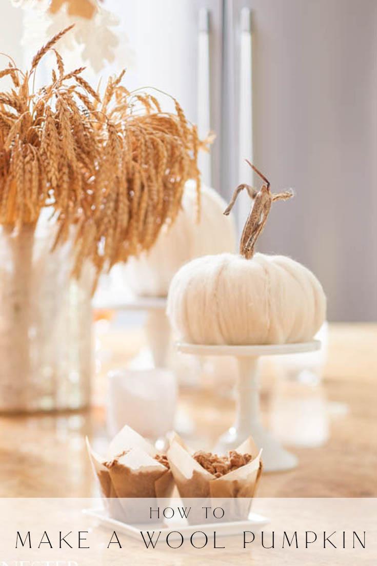 how to make a wool pumpkin pin