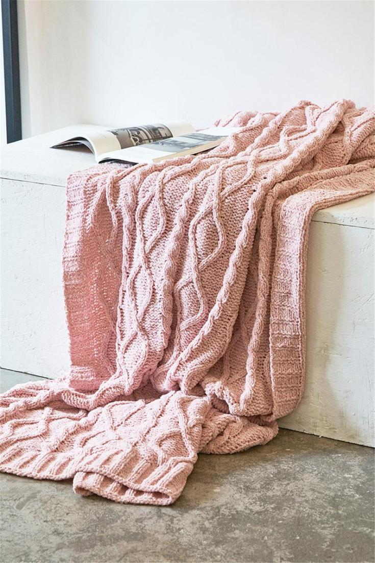 knitted soft chenille blanket