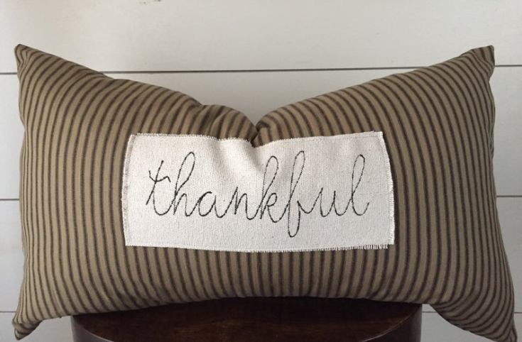 fall pillow with ticking material