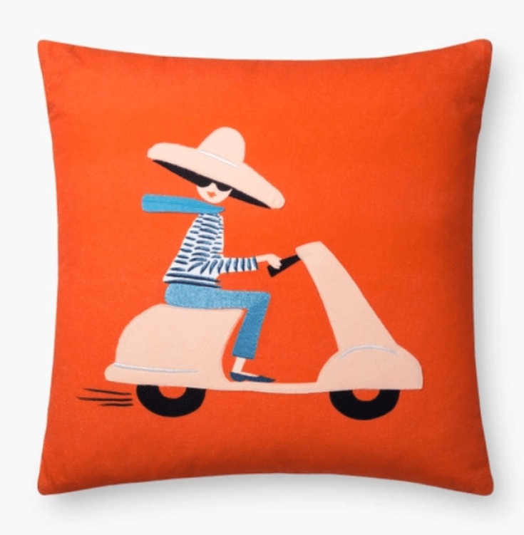 girl on a scooter pillow by Rifle
