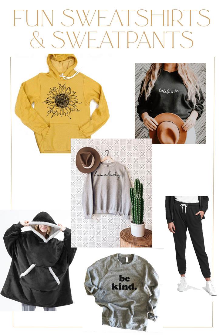 cozy sweatshirts and sweatpants pin