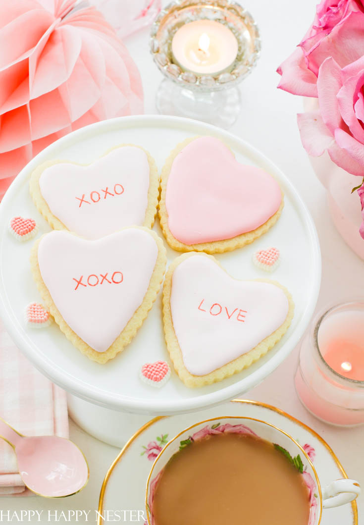 Valentine sugar cookies decorating DIY