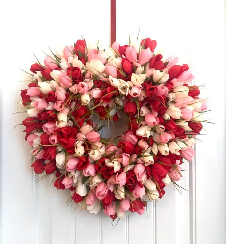 Beautiful tulip wreath for Valentines
