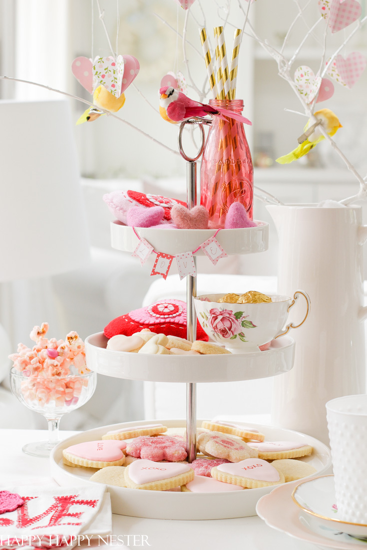 tiered tray decor ideas for Valentine's day