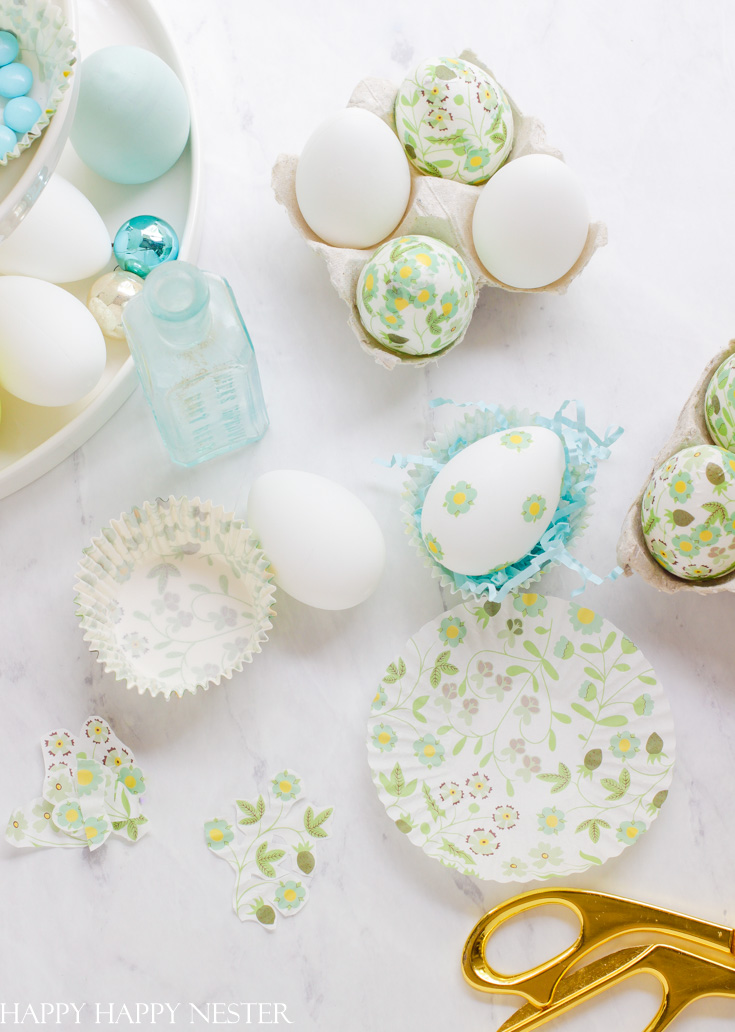 decoupage easter eggs with cupcake liners