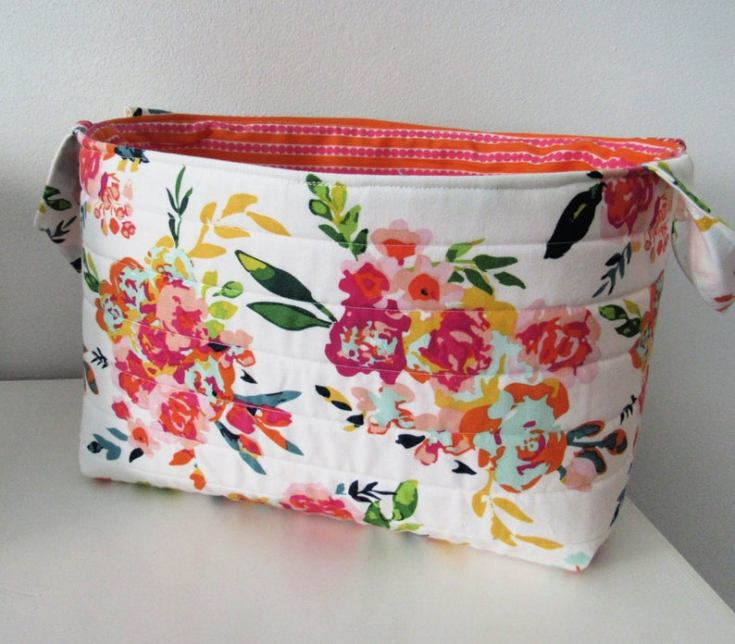 floral fabric container