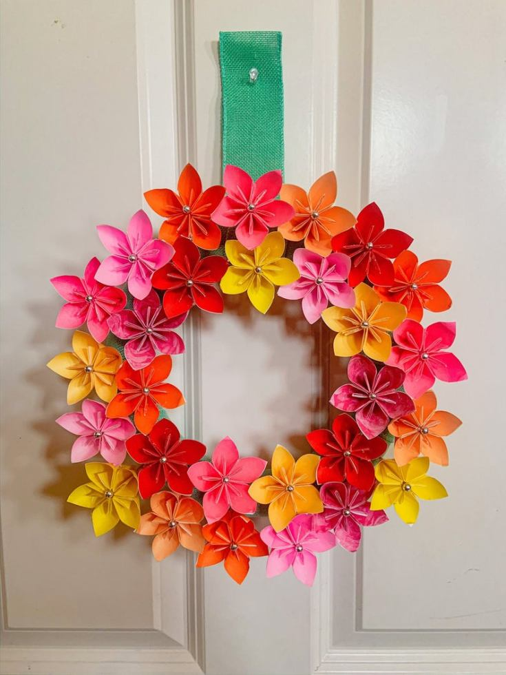 origami spring wreath