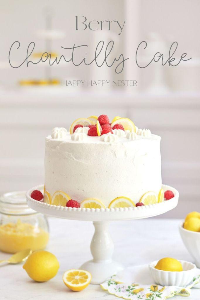 berry chantilly cake recipe pin image