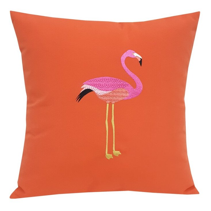 cute outdoor pillow with flamingo