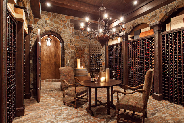 Wine Room with Tile Floor and Dark Wood Wine Racks
