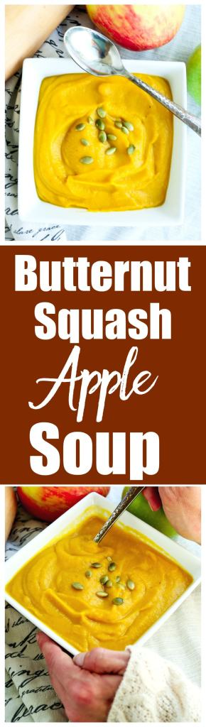 Butternut Squash Apple Soup Recipe. This is a vegan and gluten-free soup recipe that is rich and creamy and one of my favorite fall foods!