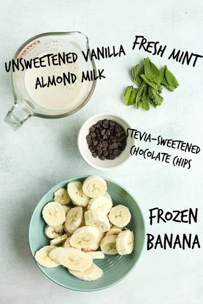 ingredients for mint chocolate chip smoothie