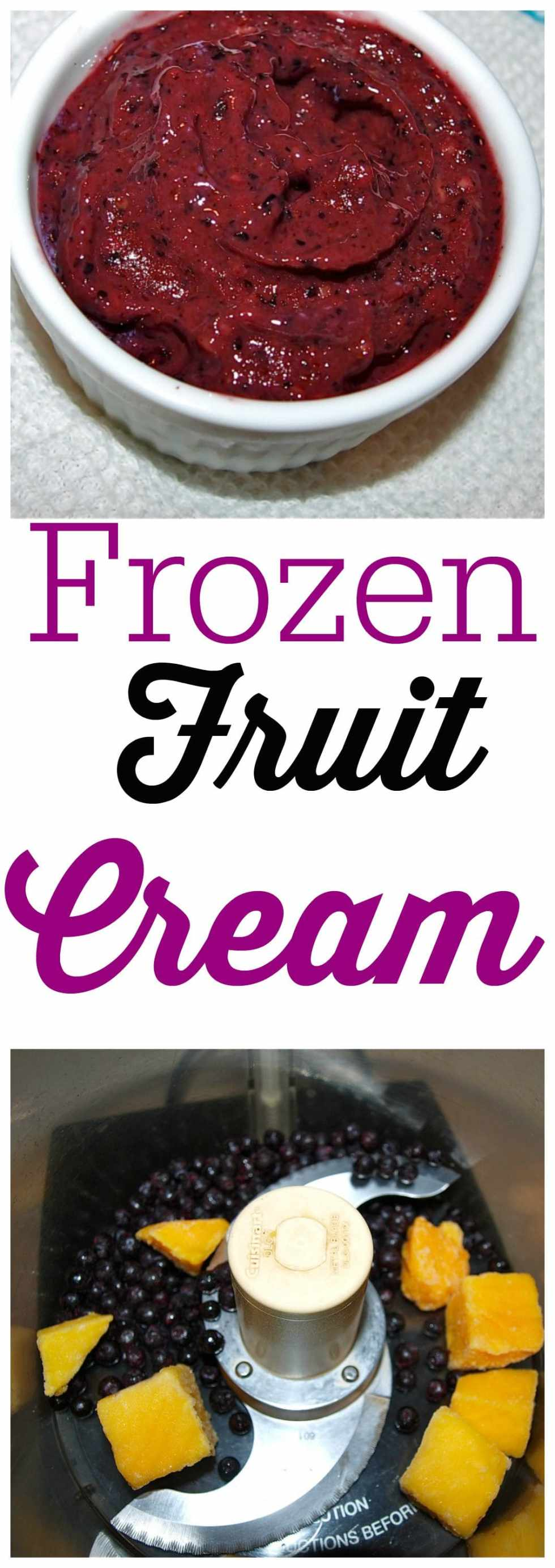 Frozen Fruit Cream recipe! You won't miss the dairy in this healthy ice cream alternative. Such a great sweet and healthy treat!