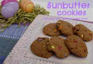 These Sunbutter Cookies with Chocolate Sunflower Seed Drops are healthy, easy, and perfect for Easter!
