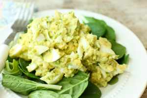 Avocado Egg Salad Recipe, no mayo, on a bed of lettuce