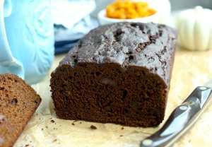 Pumpkin Molasses Quick Bread Recipe sliced in half loaf