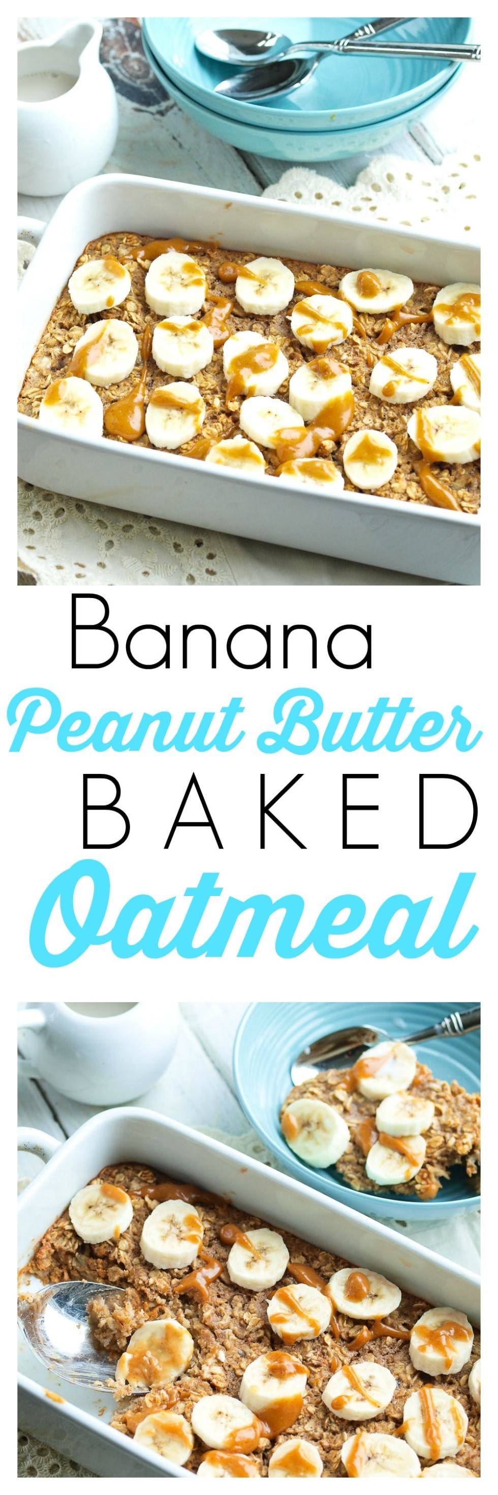 Banana Peanut Butter Baked Oatmeal Recipe. This is a healthy recipe that is perfect for chilly mornings!