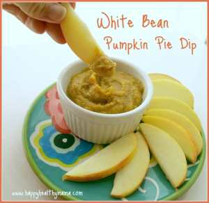 White Bean Pumpkin Pie Dip. This is a healthy pumpkin spiced dip recipe that goes perfect with apples or crackers! It's such a great fall snack!