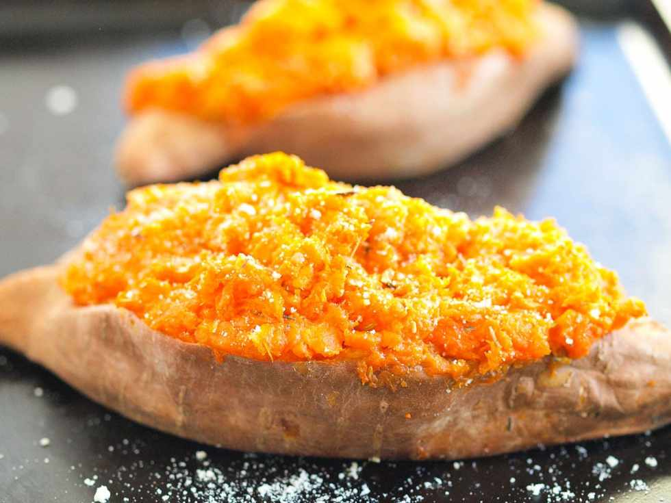 Savory Twice Baked Sweet Potatoes. With 10 minute prep time, these are easy enough to have for a weeknight dinner. But they LOOK much harder and taste incredible so they could totally be a holiday dish, too. I love recipes like this!