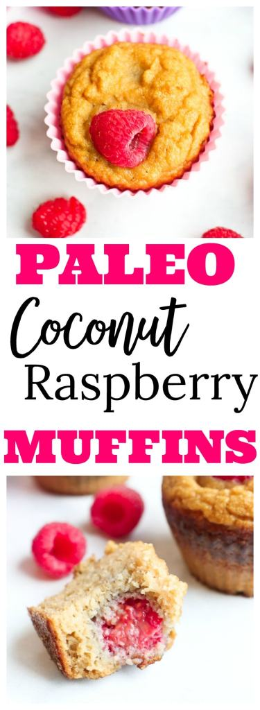 Paleo Raspberry Coconut Muffins Recipe #paleo #healthy #grainfree #glutenfree #norefinedsugar #healthy