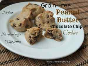 Grain-free Peanut Butter Chocolate Chip cookies--a healthy cookie made with no flour, no oil, no butter. They are totally addicting.