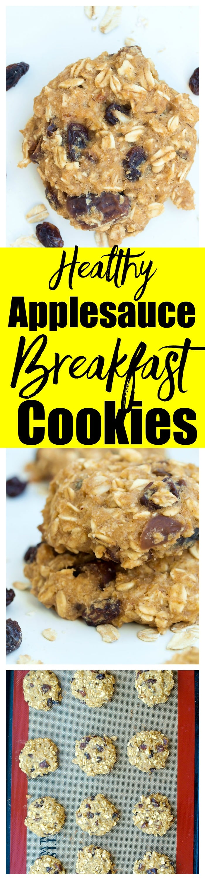 These healthy Applesauce Breakfast Cookies are a simple, one-bowl recipe and are gluten-free and vegan cookies. They are perfect for breakfast, a snack, or to satisfy your sweet tooth with NO added sugar!!