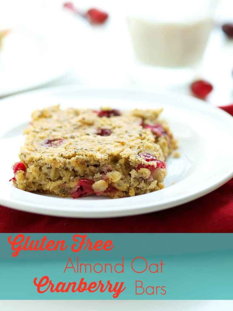 Gluten Free Almond Oat Cranberry Bars. These quick, easy, and healthy bars are great for breakfast or an after school snack! Add chocolate chips to bring them to a dessert level!