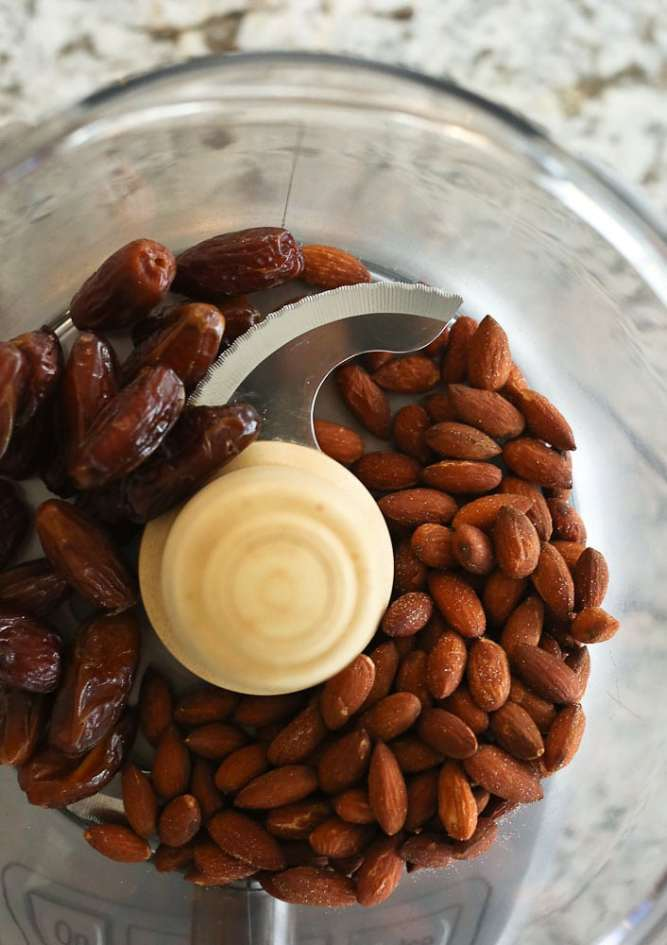 Chewy Homemade Granola Bars-step 1 almonds and dates in a food processor