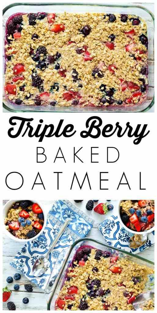 Triple Berry Baked Oatmeal--a healthy breakfast recipe from Happy Healthy Mama