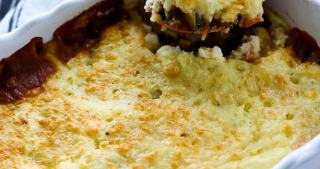 Vegetarian Shepard's Pie recipe scooping from baking dish
