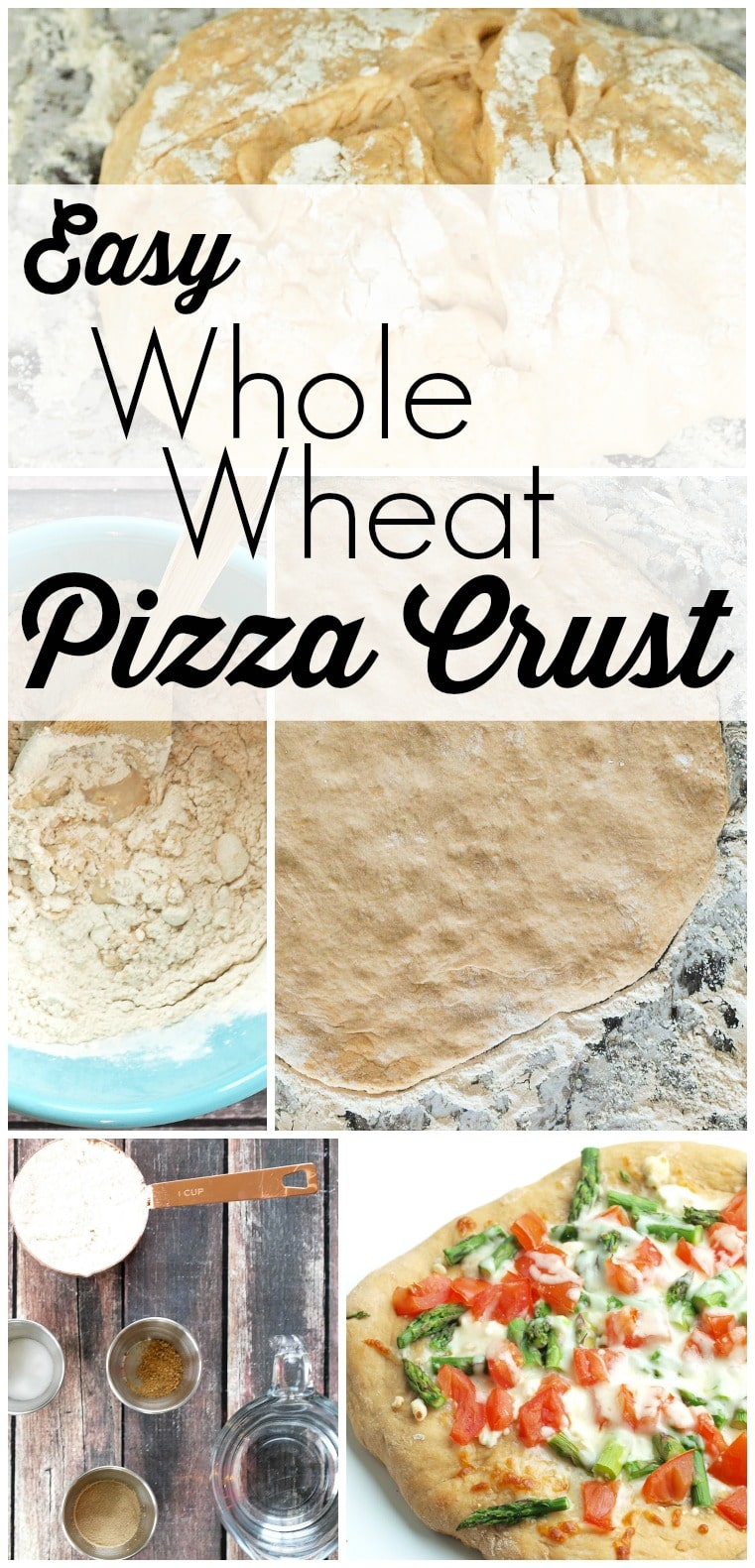 Easy Whole Wheat Pizza Crust! This is a great easy recipe for healthy homemade pizza crust. It's easier than you think