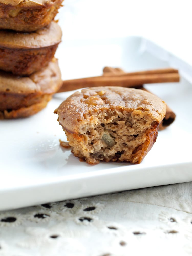 15 minute blender muffins! These apple peanut butter blender muffins make a great gluten free snack for kids!