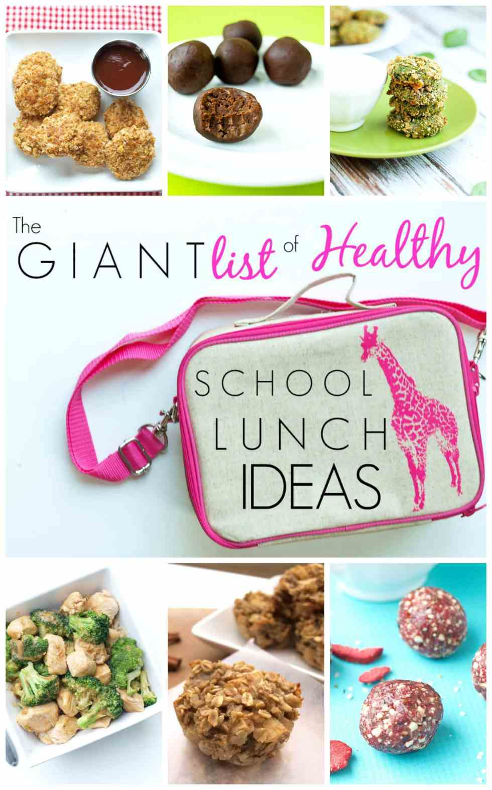 The Giant List of Healthy School Lunch Ideas. Get ideas and inspiration for packing real food, healthy, clean-eating lunches!