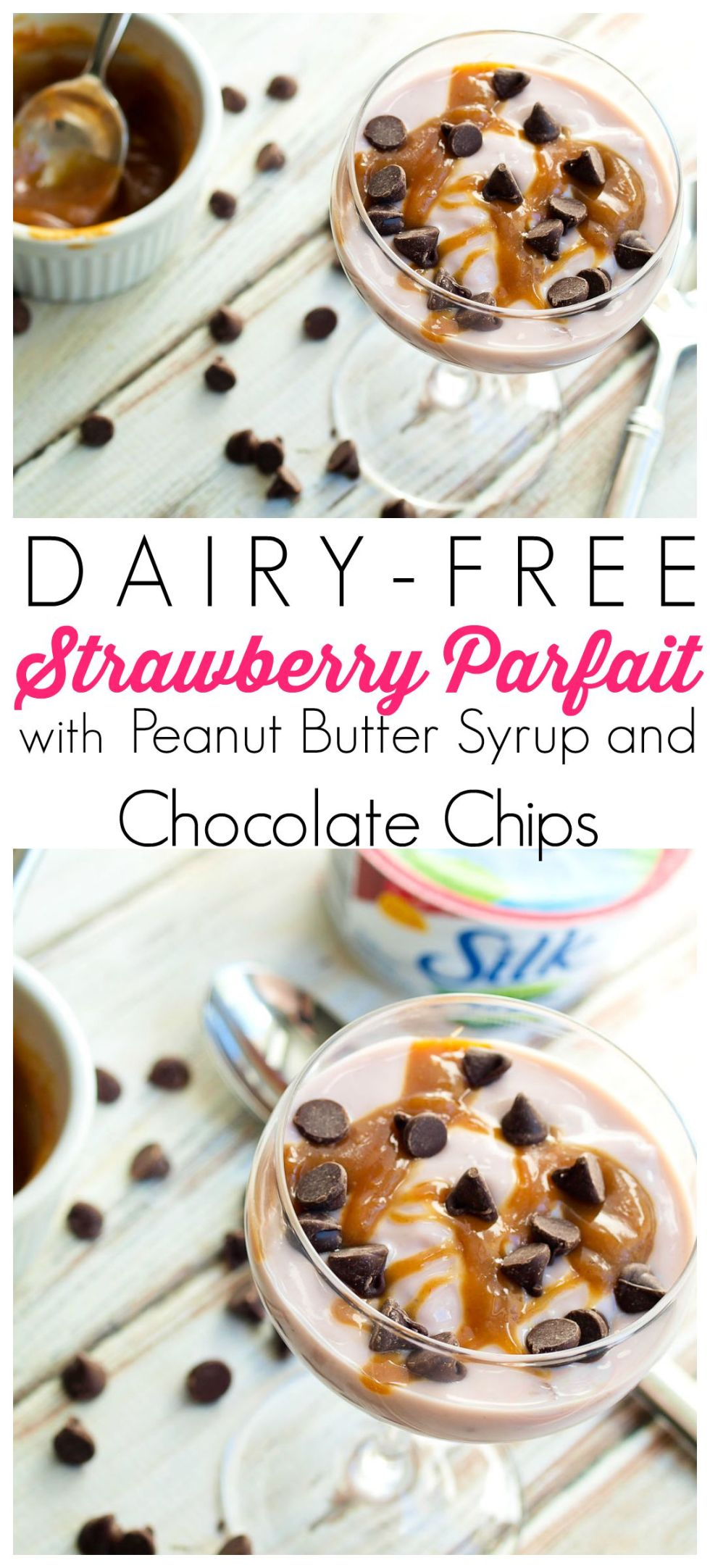 We used Silk Dairy-Free Yogurt Alternative to make these Strawberry Parfaits with Peanut Butter Syrup and Chocolate Chips. This is great as a special treat snack or dessert! The syrup takes 1 minute to whip up so this is super quick+easy!