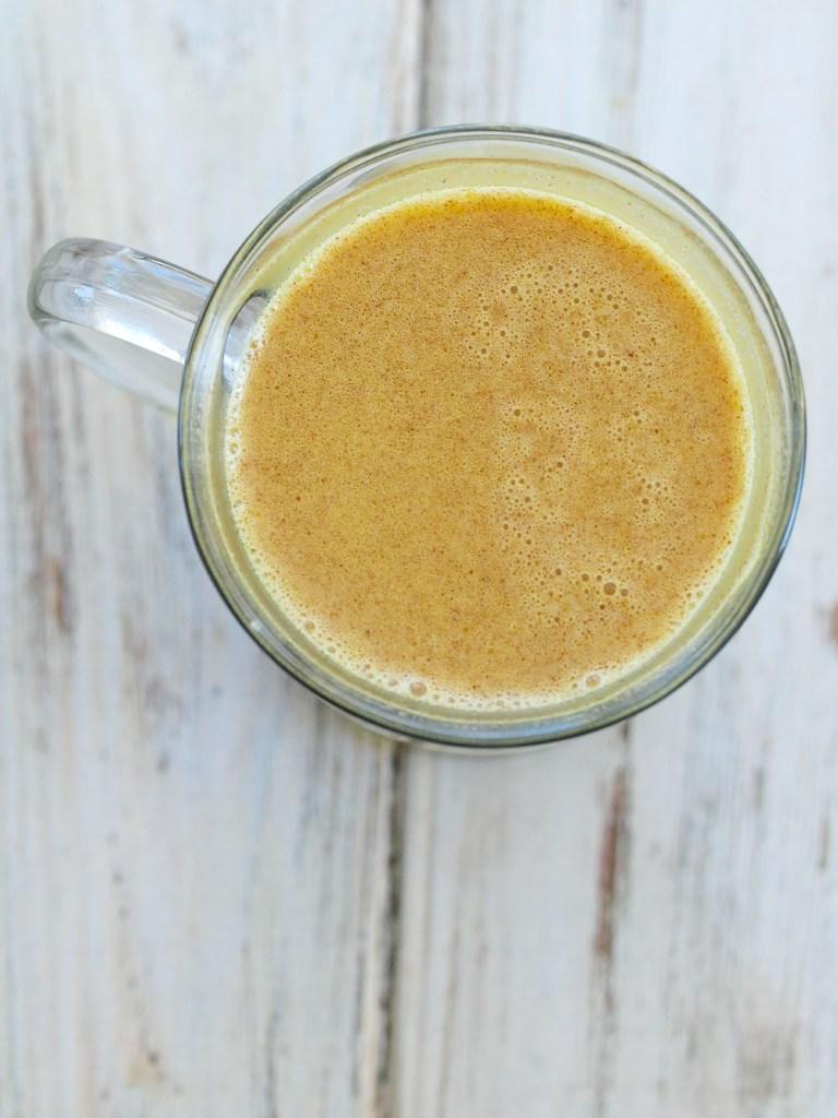 how to make Golden Milk turmeric tea recipe overhead shot