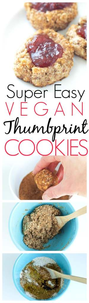 Vegan and Healthy Thumbprint Cookie Recipe. These thumbprint cookies are whole grain, naturally sweetened, and take less than 30 minutes total to make! Yep--quick, easy, AND healthy.