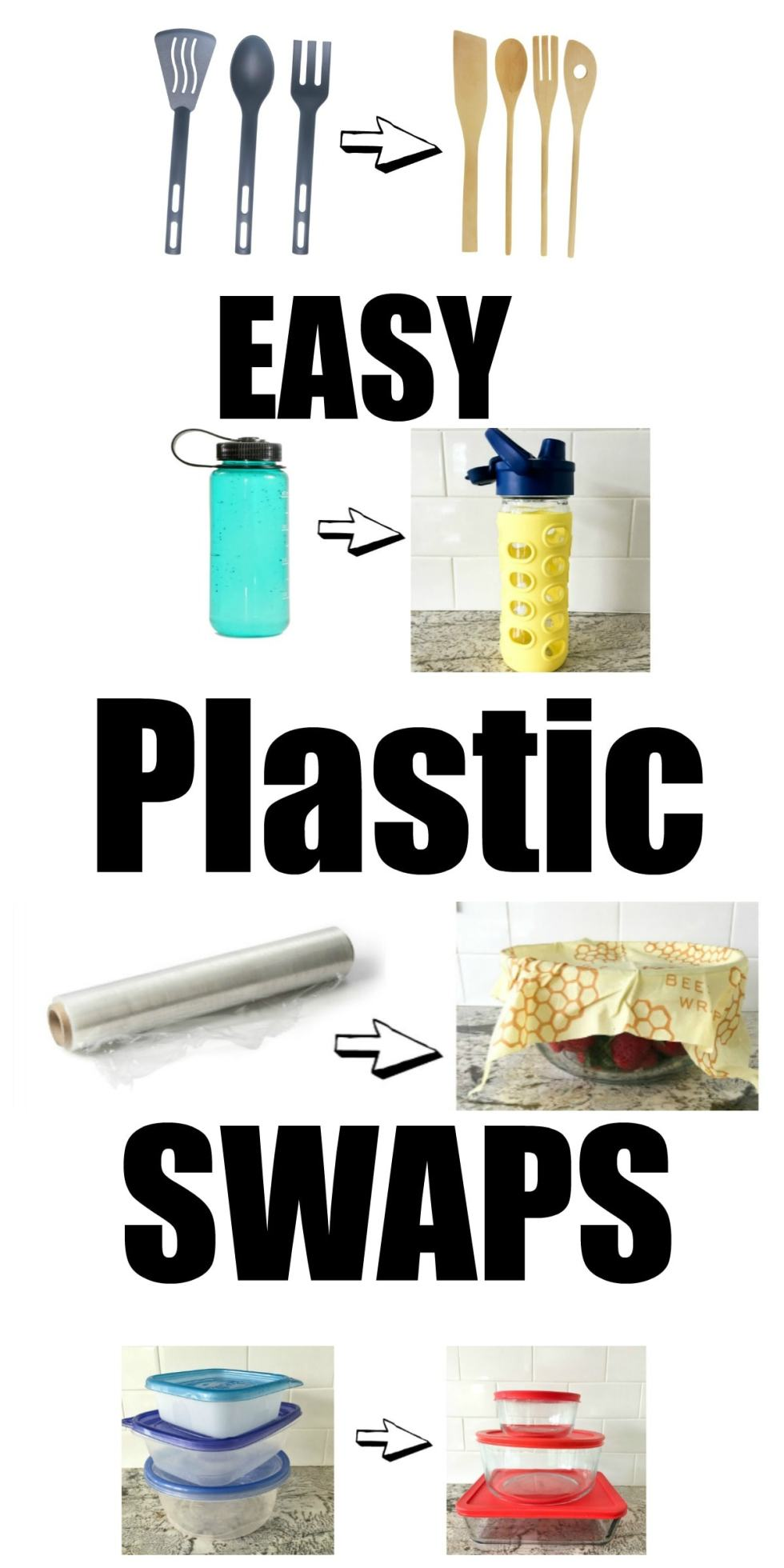 These Easy Plastic Swaps can make your home a healthier place. Plastic is in everything and may be secretly destroying your health. Here are some easy swaps you can use to get started getting rid of the toxic chemicals plastic adds to your life!
