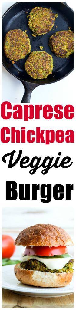Caprese Chickpea Veggie Burger Recipe. The BEST summer veggie burger!!https://happyhealthymama.com