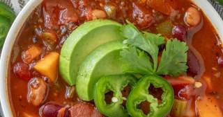 Crockpot Vegan Chili overhead shot