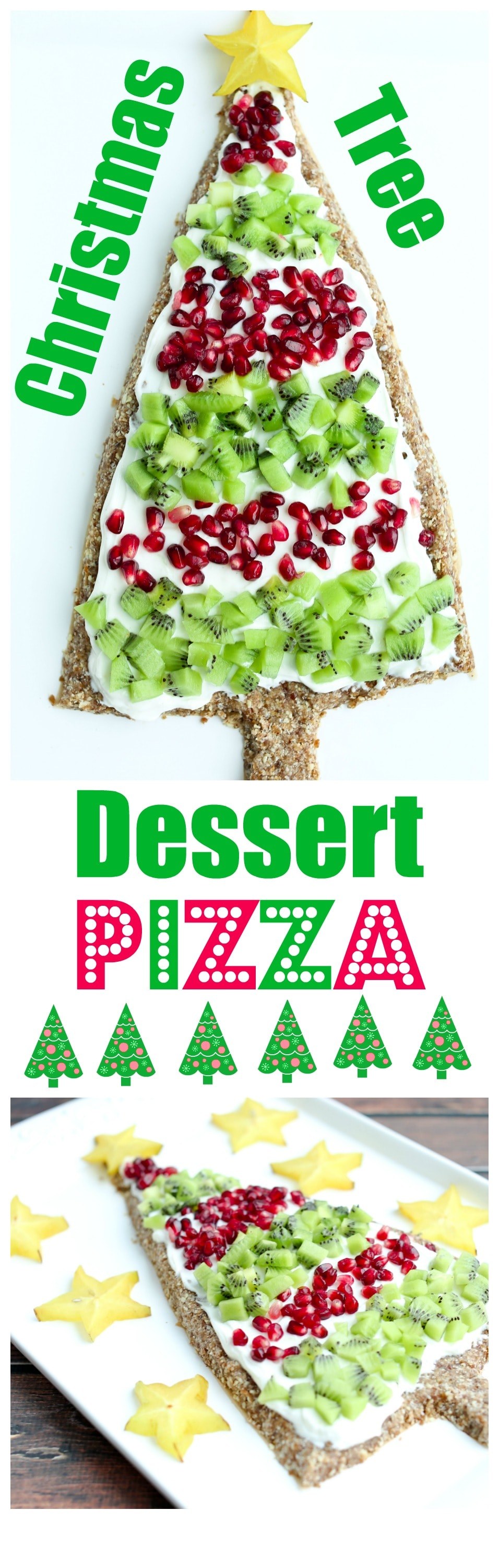Christmas tree dessert pizza recipe. This is a healthy dessert pizza and makes a great healthy christmas dessert or holiday appetizer