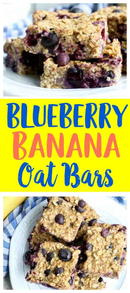 One bowl easy snack recipe! Blueberry Banana Oat Bars make a low-sugar, healthy snack or breakfast ideas. It can be a make ahead breakfasts