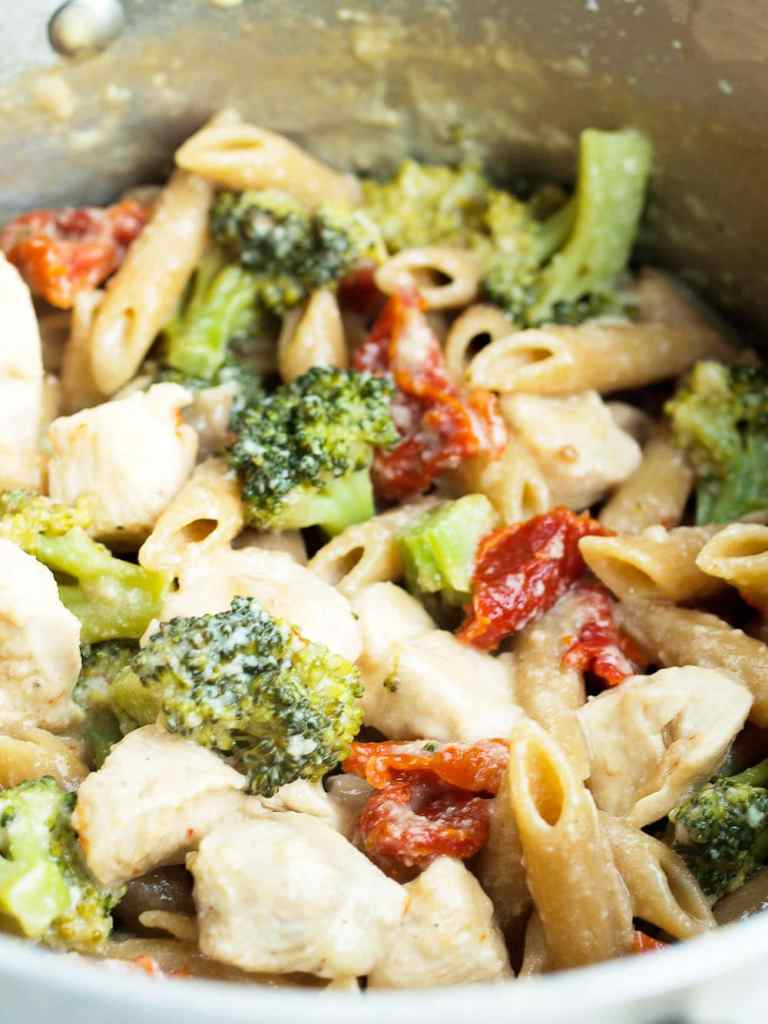 Close up for of one pot penne and broccoli recipe