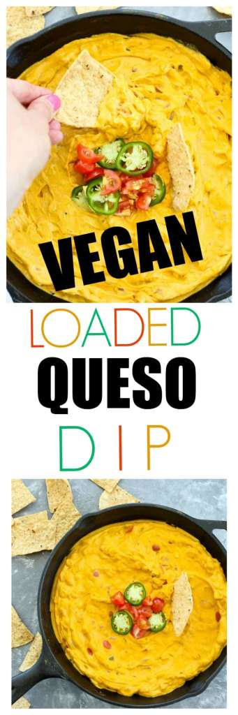 Vegan and Paleo-friendly Loaded queso dip! This is made with VEGETABLES and CASHEWS. Yes please. A better healthy Mexican cheesy without actual cheese appetizer will not be found.